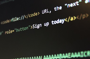 A person designing a website by editing its source code