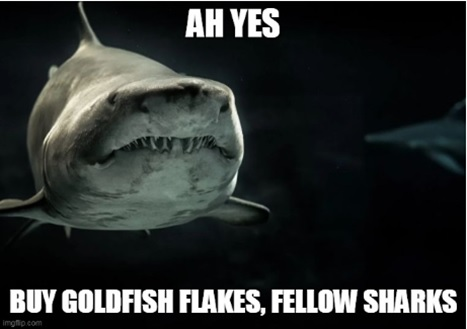 A sponsored ad in which a shark is selling goldfish flakes