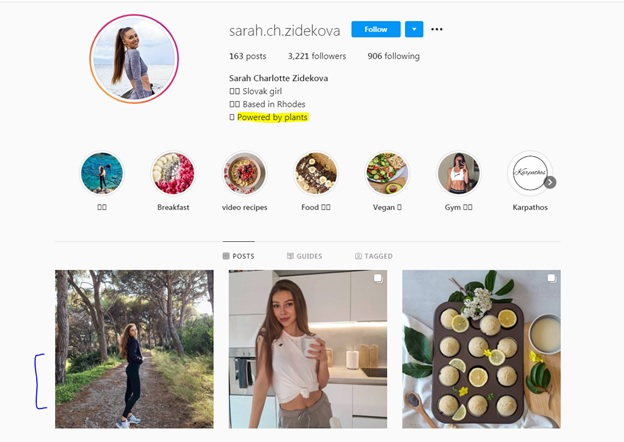 screenshot of a micro influencer with high relevance to women's vegan leggings that can help a business meet its social media marketing goals.