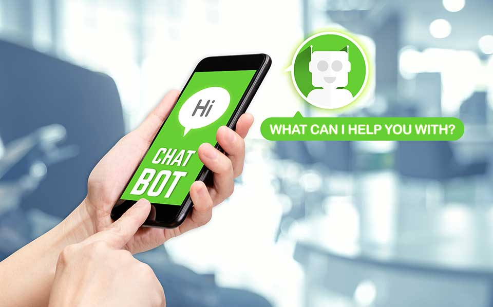 chat with bot on mobile message app with blur office background,artificial intelligence (ai)